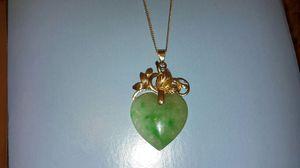 14K marked gold Jade Heart Pendant Necklace Rare & Unique for Sale in Philadelphia, PA