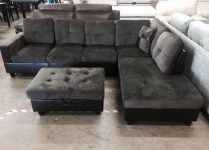 NEW Sectional couch gray microfiber on box never open NEW DELIVERY for Sale in Portland, OR