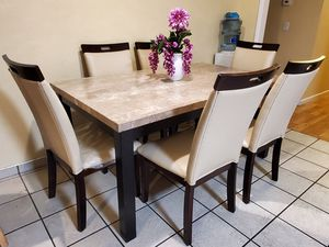 7Pc White Marble/Espresso Wood Dining Table Set W/ Cream Chairs for Sale in San Jose, CA