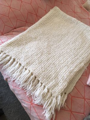 off white and sequined angora wool effect blanket, super soft and very warm size 80x50inch/$25 for Sale in Los Angeles, CA