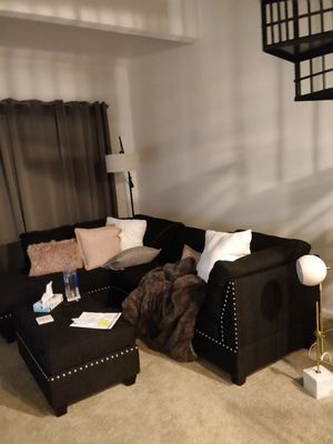 Canvas black couch and ottoman for Sale in Alexandria, VA