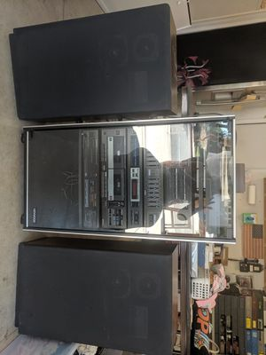 1989 Kenwood 6 component stereo system in cabinet with speakers for Sale in Riverside, CA