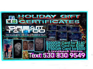 Gift certificates for award winning tattoo shop. for Sale in Chico, CA