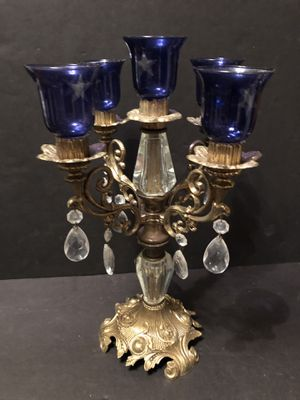 Vintage Cast Metal Candelabra 5 Candlestick Holder Ornate Brass Detailed for Sale in Fresno, CA