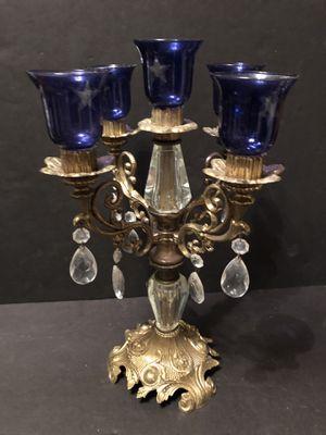 Vintage Cast Metal Candelabra 5 Candlestick Holder Ornate Brass Detailed for Sale in Fresno, CA