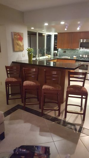 4 Cherrywood bar stools with reinforcements. Perfect, new condition. for Sale in Hollywood, FL