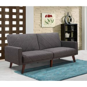 Split Back Linen Fabric Futon Sofa Bed with Lines for Sale in Commerce, CA