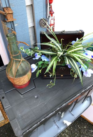 Water vase and Chest with artificial flowers for Sale in Kent, WA