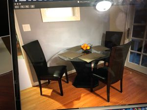 Designer glass dining table with chairs for Sale in Newark, CA