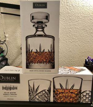 NWT Dublin Crystal Collection Decanter and Glasses for Sale in Seattle, WA