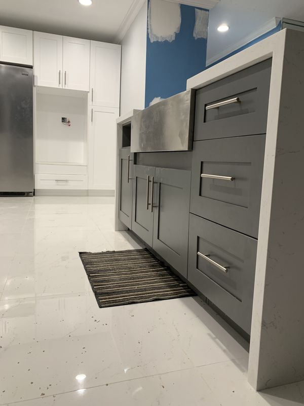 Custom Waterfall kitchen cabinet island