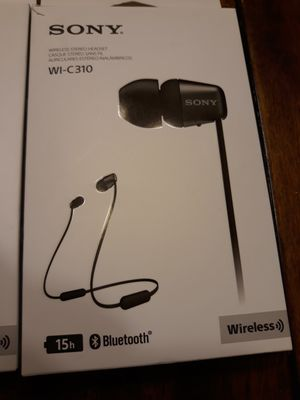 Sony WI-C310 Bluetooth Wirel0ess In-Ear Earphones with Mic - 15 hours battery life for Sale in Murphy, TX