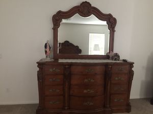 Queen bed frame, two nightstands and dresser with mirror for Sale in Mesa, AZ