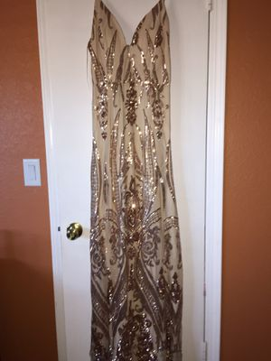 Champagne sequence prom dress for Sale in Ramona, CA