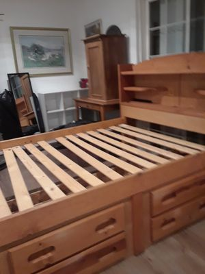 Good condition bed, mirror, picture, small wood storage,shelf,table for Sale in San Jose, CA