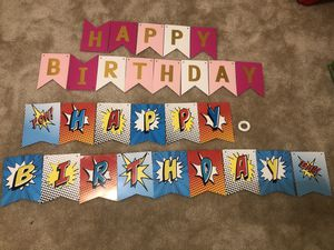 Happy birthday banner party decoration... 2 sets ribbon included for Sale in Gaithersburg, MD