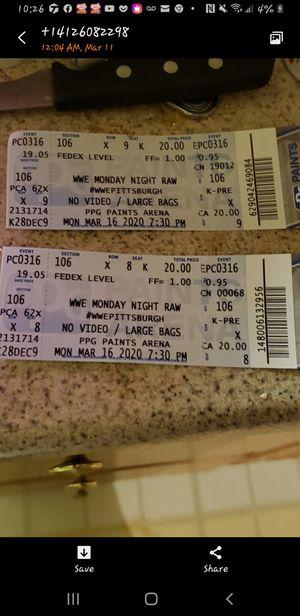 Wwe raw tickets for Sale in West Mifflin, PA