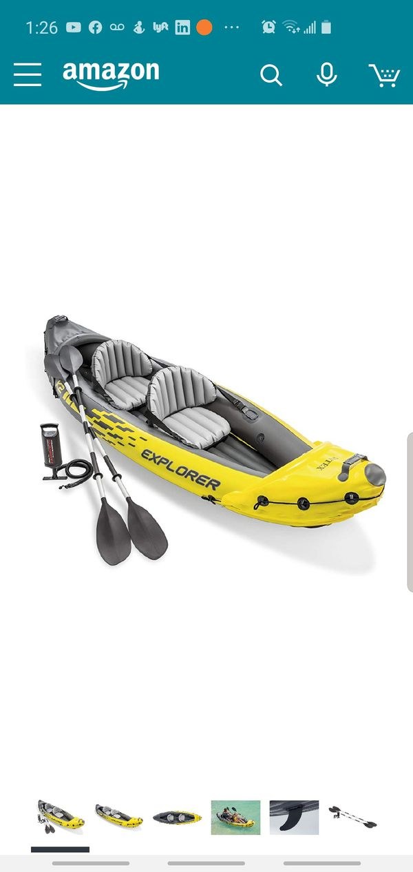 Kayak inflatable with Extra Paddles, LifeVest, Automatic Pump