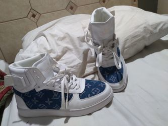 Louis Vuitton Blue And White 8.5 Hightop Shoes for Sale in Raleigh,  NC