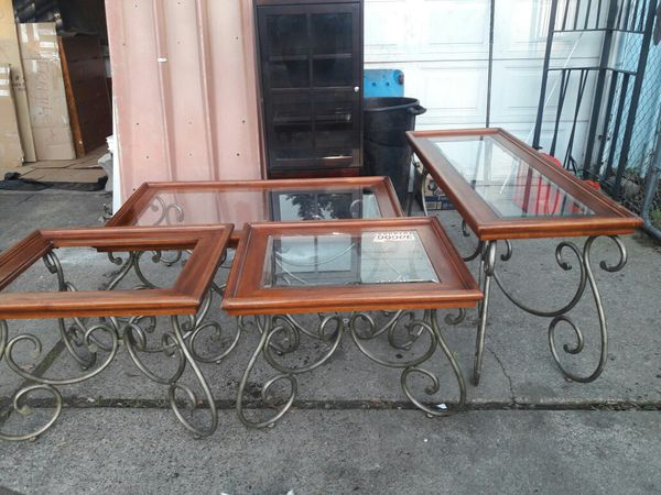 Set of 4 glass top tables