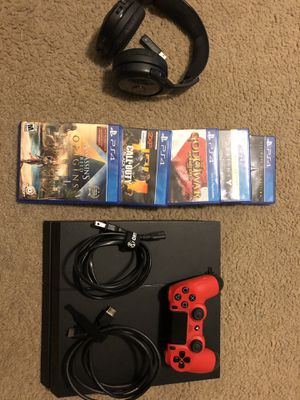 PS4 console w/ 500gb storage, one controller, 5 games and a gaming headset w/o a mic. PS4 comes with 3/4 year subscription on PSN. HDMI included and for Sale in Warrenton, VA