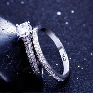 Stamped 925 Sterling Silver Engagement/ Promise Ring Set for Sale in Los Angeles, CA