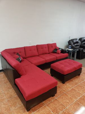 Sectional Bonded Leather & Polyfiber w/ Ottoman Living Room [Only $50 Down] [90 Days to Pay Cash Price & No Interest] for Sale in Irving, TX