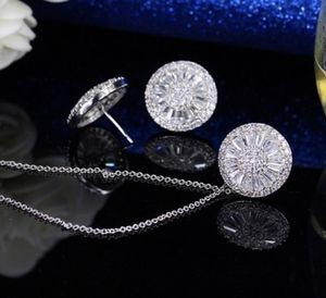 Women real 925 starling silver Luxury 2.25CT Natural White Sapphire diamond Round Necklace Earring Set for Woman for Sale in Moreno Valley, CA