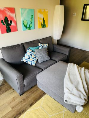 Gray Ottoman + Couch for Sale in Palm Springs, CA