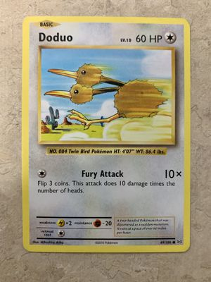 Pokemone XY Evolutions Card Doduo 69/108 Gift Gaming Collectable Gift for Sale in Colorado Springs, CO