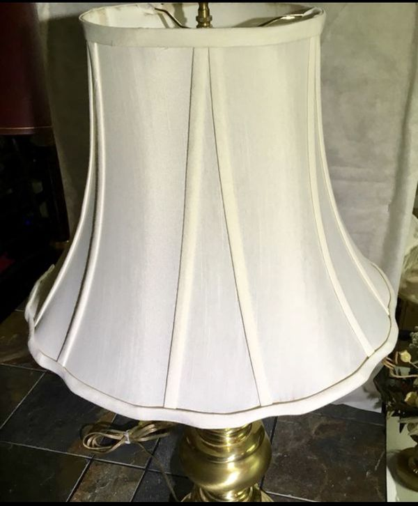 Linen Shade w/Free Brass Lamp Excellent Condition
