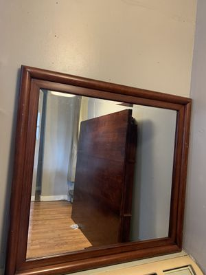 Cherry wood framed wall mirror for Sale in Orlando, FL