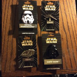 Star Wars Disney Pin Helmet Vader, Imperial Stormtrooper Limited Edition LE 4000 Poe's X-Wing Fighter, Starspeeder LE 6000 for Sale in Orange, CA