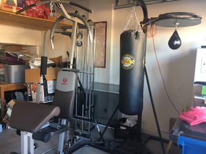 Marcy gym w/weights + heavy bag and speed bag for Sale in Las Vegas, NV