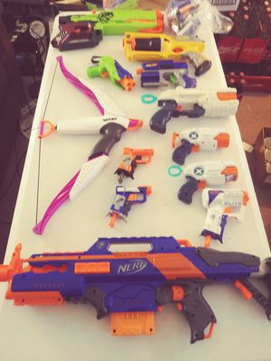 11 NERF GUNS & 1 NERF BOW for Sale in Kennewick, WA