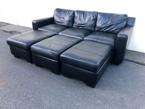 Black Leather Sofa with Matching Set of Ottomans / Sectional Couch for Sale in Seattle, WA