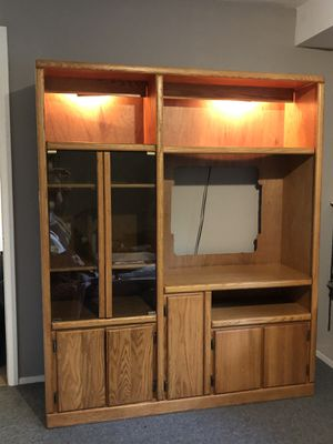 Solid Oak Entertainment Center with Matching Side Piece (not shown) for Sale in Duvall, WA