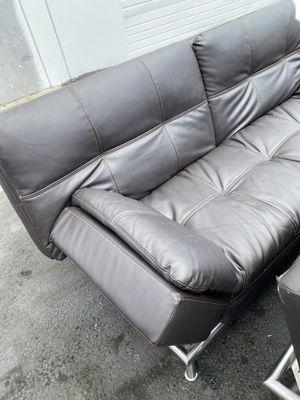 Dark brown leather futon for Sale in Littlerock, CA