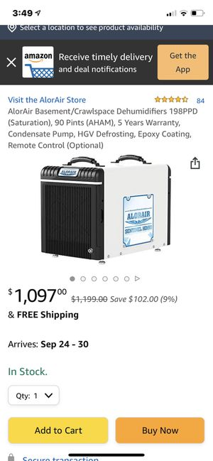 !NEW!! NEVER USED!!AlorAir Basement/Crawlspace Dehumidifiers 198PPD (Saturation), 90 Pints (AHAM) for Sale in Easton, MA