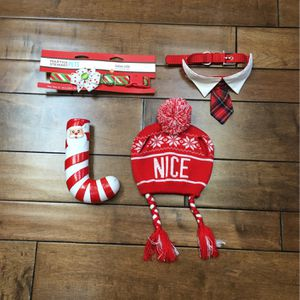NWT - Size M - Dog 🐶 Christmas Collar SET - Knit 'nice' Beanie With Ear Holes, Flower Bow Xmas Collar, Red Collar And Tie Collar And Candy Cane Toy for Sale in Santa Ana, CA