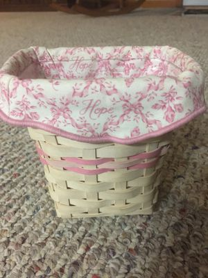 Longaberger horizon of hope basket with liner and protector for Sale in Middlebury, IN