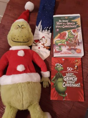 Grinch plush toy, mens tie, VHS, and DVD. for Sale in Wake Forest, NC