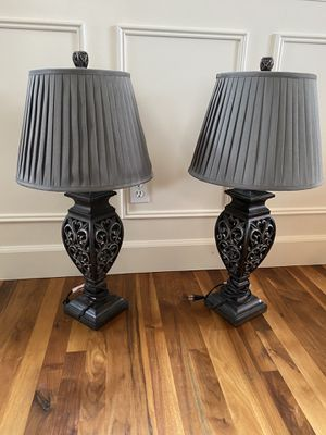 Beautiful Lamps/ grey shades-PENDING PICK UP for Sale in Snohomish, WA
