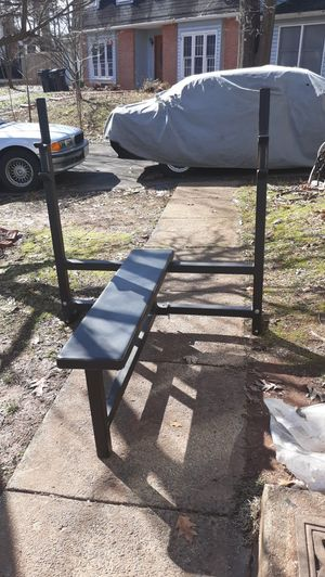 Olympic bar + Olympic bench for Sale in Manassas, VA