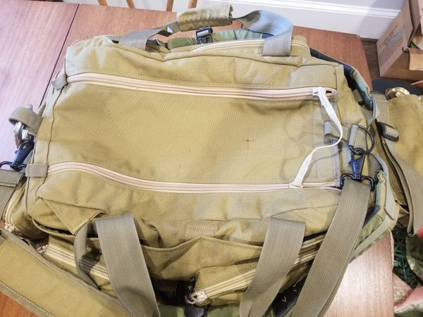 Military pilot flight helmet backpack bag, beige, camping, survival, hike, storage