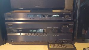Onkyo TX-SR 605 receiver with dvd player and 5 speaker surround sound w/ powered sub woofer system for Sale in Milpitas, CA