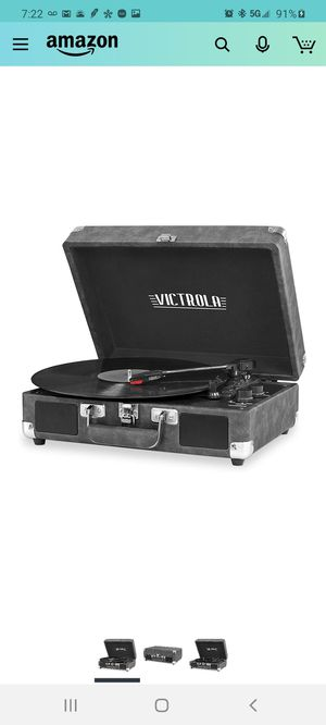 Victrola Vintage 3-Speed Bluetooth Portable Suitcase Record Player with Built-in Speakers | Upgraded Turntable Audio Sound| Includes Extra Stylus for Sale in City of Industry, CA