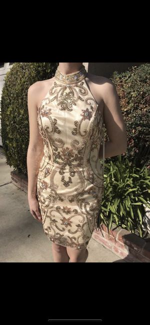 Brand New With Tags Prom/Evening Dress, by Amelia Couture, size 6, Gold Sequined. $65.00 for Sale in Chino, CA