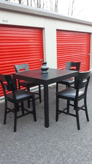 AWESOME, Expresso, Wood & Leather, Bar Height Dining/Kitchen Table & 4 Matching Bar Chairs for Sale in Hampton, VA