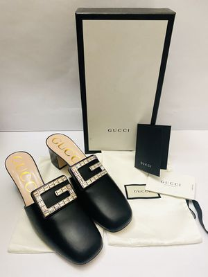 GUCCI Madelyn Crystal Black Leather Mules Slides Shoes 551439 SIZE 40 (Regular Price $890) for Sale in Miami, FL
